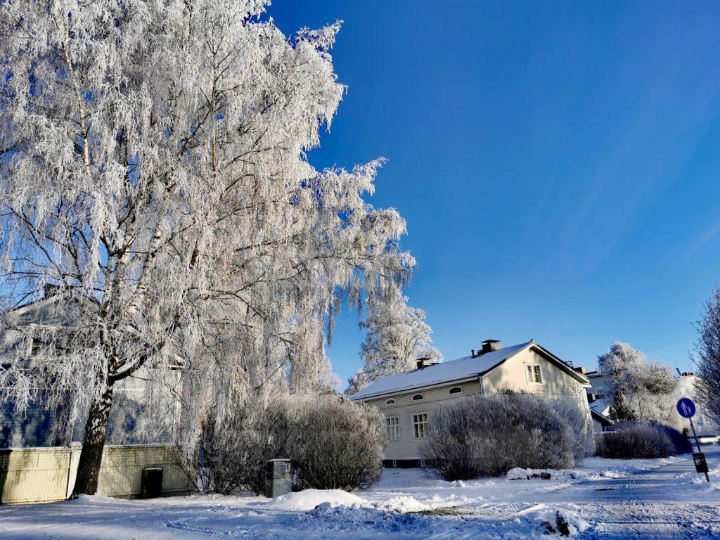 Talvisia tunnelmia Kainuuntien ja Karjakadun kulmasta. Kuva Hanna Kopsala.