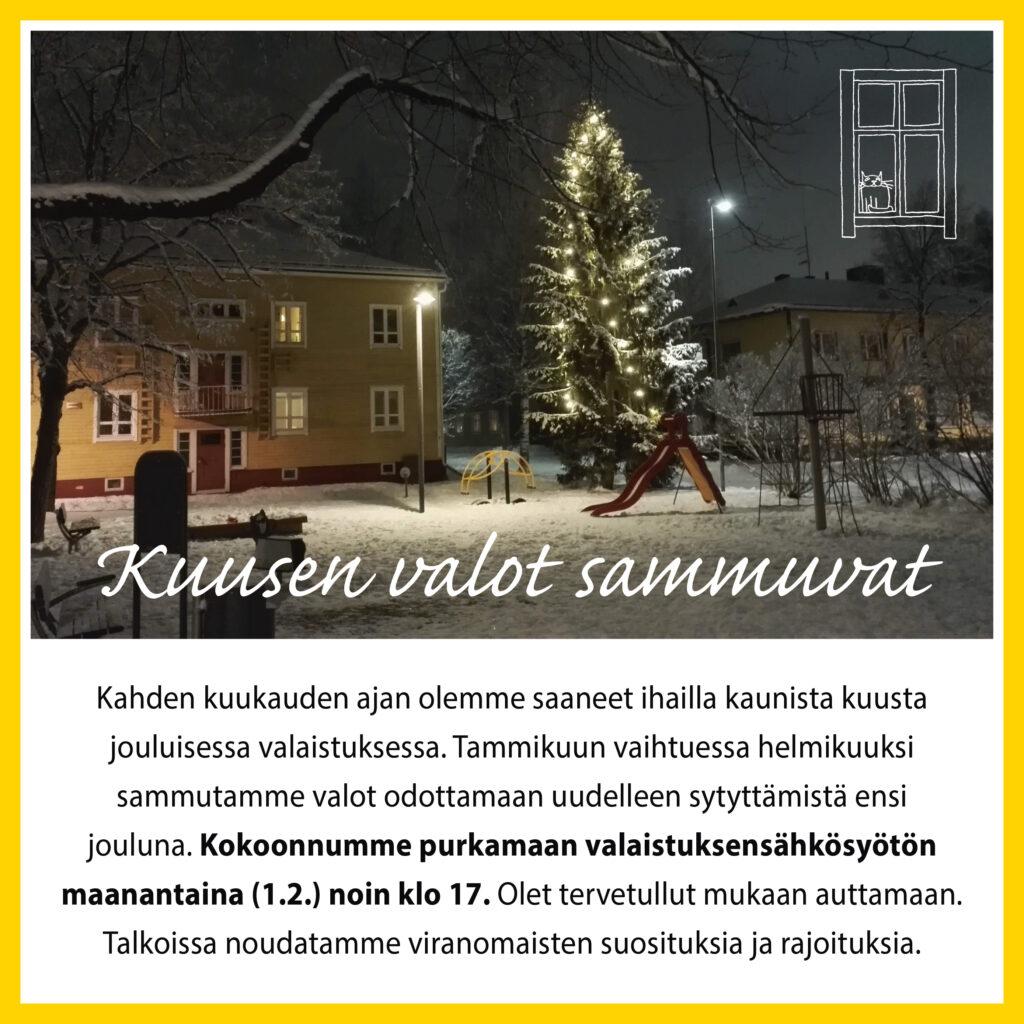 Kuusen jouluvalot sammutettiin 1.2.2021