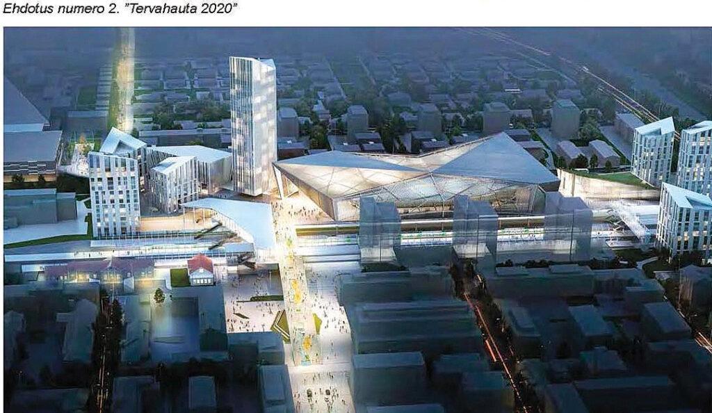 """Vuonna 2016 järjestetyn arkkitehtikilpailun ehdotuksista yhdessä, """"Tervahauta 2020"""":ssä asema-alueelle oli sijoitettu myös areena. © GSP Group Oy, PES-arkkitehdit."""