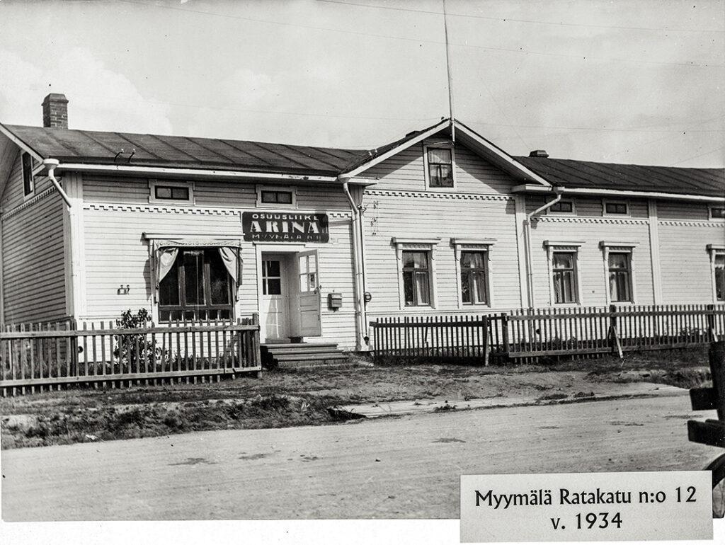 Osuuskauppa Arinan myymälä Ratakatu 12:ssa vuonna 1934.